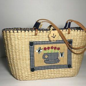 Breckinridge Straw Embellished Tote/Bag NWOT